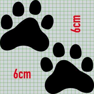 2 Pfötchen 6cm schwarz 1 Paar Pfoten Fuß Aufkleber Katze Hund Tattoo Deko Folie - Vorschau 2