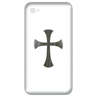4 Aufkleber Tattoo 5cm chrom Templer Gothic Kreuz Handy smartphone Deko Folie