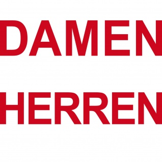 2 Aufkleber rot DAMEN + HERREN Tür Hinweis Schriftzug Beschriftung Tattoo Folie