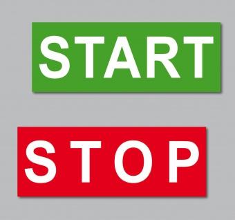 Set Aufkleber 6, 5cm Start Stop Taste Maschine Werkbank Automat Labor Werkstatt