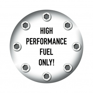 Aufkleber 10cm Sticker high performance fuel only Tank Deckel Benzin Racing Auto