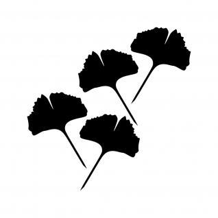 4 Aufkleber Tattoo 15cm schwarz voll Ginko Gingko Blatt Auto Fenster Deko Folie