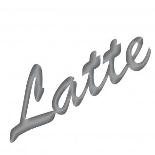Latte 19cm silber Aufkleber Tattoo Deko Folie Schriftzug Kühlschrank Wandtattoo