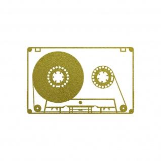 Musik Kassette 10cm gold Aufkleber Tattoo Deko Folie MC Music Cassette DJ Tape