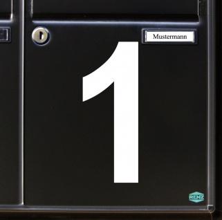 Ziffer 1 weiß 15cm Aufkleber Tattoo Nummer Zahl Hausnummer Haus Tür Mülltonne - Vorschau 3