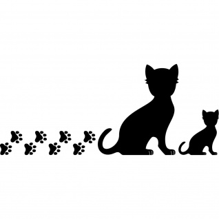 2 Katzen rechts + Pfötchen schwarz Aufkleber Tattoo Deko Folie Auto Balkon Tür