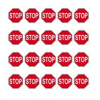 20 Aufkleber 1cm STOP Zeichen Symbol Schild Logo Modellbau Mini Sticker RC Deko