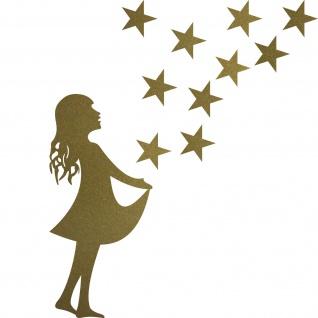 Set gold Sterntaler + 10 Sterne Sternfänger Christkind Aufkleber Deko Folie xmas