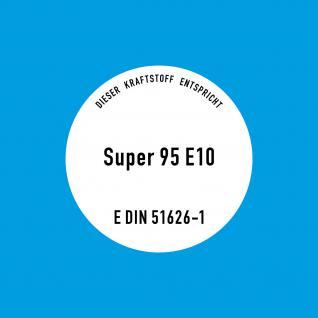 10 Aufkleber Sticker Super 95 E10 Kraftstoff Benzin Hinweis Tankstelle Zapfsäule