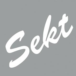 Sekt 16cm weiß Aufkleber Tattoo Deko PVC Folie Schriftzug Kühlschrank Wandtattoo