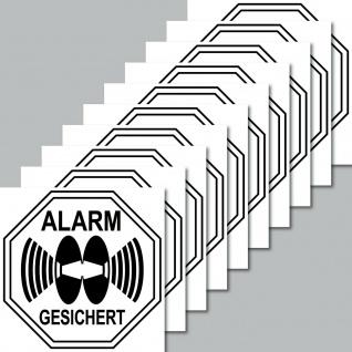 10 Aufkleber Stop Alarm gesichert 5cm Sticker Außenseite Rollladen Fensterrahmen