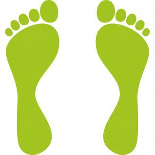 1 Paar 2 Füße 25cm grün Fuß Abdruck Spur Aufkleber Auto Möbel Tattoo Deko Folie - Vorschau 1