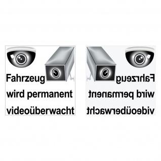 Set Aufkleber 5cm Fahrzeug wird videoüberwacht Sticker gespiegelt 4061963000304