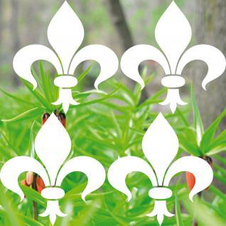 4 Stück 16cm weiß Florentiner Lilie Aufkleber Tattoo die cut Fenster Deko Folie