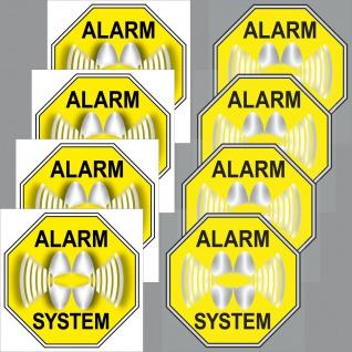 4+4 Aufkleber Sticker 5cm gelb Alarm System Set Innenseite Fenster Glas Scheibe