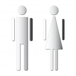 Aufkleber 12cm Mann Frau chrom Toilette WC Bad Tür Hinweis Deko Folie die cut