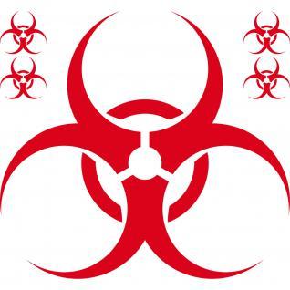 Set Aufkleber 50cm rot Bio Hazard Symbol Zeichen Tattoo Auto Deko Folie