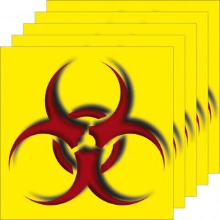 5 Aufkleber 10cm Sticker Biohazard Bio Warnung Gefahr Abfall Trennung Labor Tür