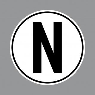 Aufkleber N Sticker 10cm rund UV Hinweis auf Getriebe Normalstellung Racing Auto
