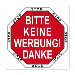 Aufkleber 5cm rot STOP BITTE KEINE WERBUNG DANKE einwerfen Hausflur Briefkasten