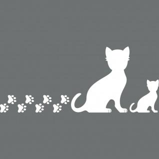 2 Katzen rechts + Pfötchen weiß Aufkleber Tattoo Deko Folie Auto Fenster Tür