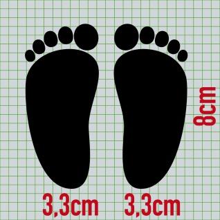 1 Paar 2 Füße 8cm schwarz Baby Fuß Abdruck Aufkleber Auto Möbel Tattoo Dekofolie - Vorschau 2