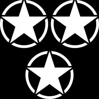 3 Aufkleber 7cm weiß USA US Sterne Auto Jeep Pkw Tattoo Deko Folie Autoaufkleber