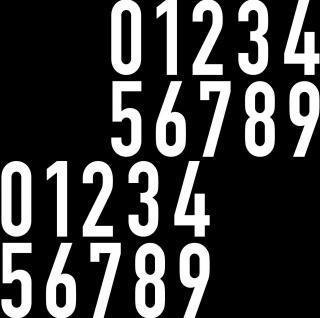20 Aufkleber 8cm weiß DIN1451 Haus Tür Auto Ziffer Zahl Nummer Verkehrsschrift