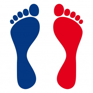 5 Paar 10 Füße 20cm blau / rot Fuß Abdruck Fußspur Aufkleber Tattoo Deko Folie