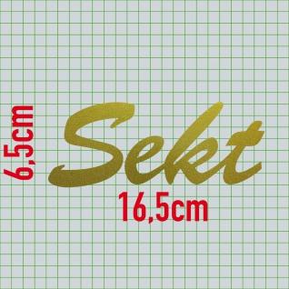 Sekt 16cm gold Aufkleber Tattoo Schriftzug Schreibschrift Kühlschrank Deko Folie - Vorschau 2