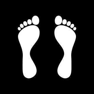 1 Paar 2 Füße 12cm weiß Fuß Abdruck Spur Aufkleber Tattoo Auto Möbel Deko Folie - Vorschau 1