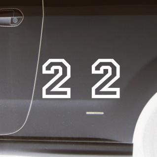 2 Stk. Aufkleber Tattoo Folie Startnummer 2 racing Nummer Zahl Ziffer 15cm weiß
