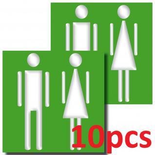 10 Aufkleber 10cm WC Mann Frau Sticker Toilette Tür Wand Hinweis Zeichen Symbol
