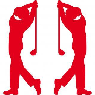 2 Aufkleber Tattoo 30cm rot Golfspieler Golfer Golfsport Auto Tür Deko Folie