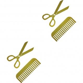 4 Aufkleber Tattoo 15cm gold Schere Kamm Auto Fenster Folie Friseur Haarstudio