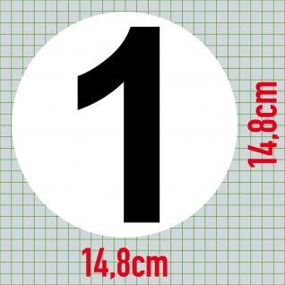 4 Aufkleber 15cm Start Nummer 1 Ziffer Zahl Auto Rennsport Racing Kart Gokart - Vorschau 3
