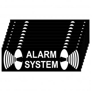 10 Aufkleber 6, 5cm Alarm System Sticker für Außenseite Rollladen Fensterrahmen