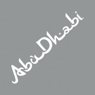 Schriftzug Abu Dhabi 50cm weiß Auto Tür Heck Fenster Aufkleber Tattoo Deko Folie