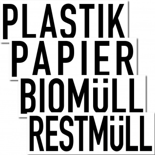 20 Aufkleber Sticker 20cm Plastik Papier Biomüll Restmüll Müll DIN ISO Trennung