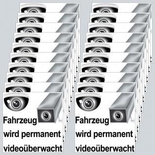20 Aufkleber 5cm Fahrzeug wird videoüberwacht für Außenseite Taxi Wohnwagen Auto