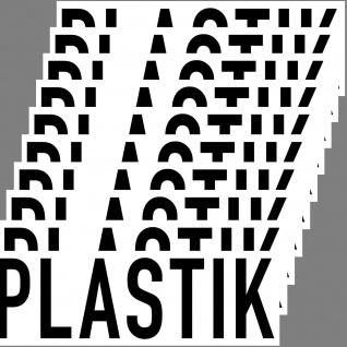 Aufkleber Plastik 20cm Sticker Hinweis Müll Trennung DIN ISO Eimer Kontainer