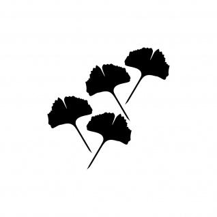 4 Aufkleber Tattoo 10cm schwarz voll Ginko Gingko Blatt Auto Fenster Deko Folie