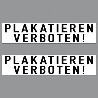 Aufkleber 20cm Plakatieren Verboten PVC Sticker Bekleben Zukleben Hinweis