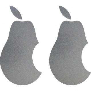 2 Aufkleber Tattoo Birne 10cm silber Apple verarsche Tablet Laptop Notebook Auto