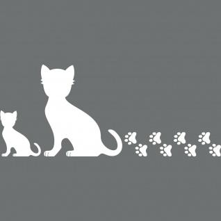 2 Katzen links + Pfötchen weiß Aufkleber Tattoo Deko Folie Auto Fenster Tür