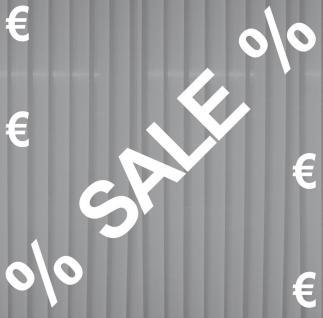Aufkleber weiß SALE + 4 Euro Zeichen + 2 Prozent Schaufenster Fenster Deko Folie