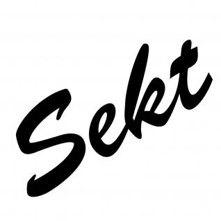 Sekt 16cm schwarz Aufkleber Tattoo Schriftzug Kühlschrank Küche Bar Deko Folie