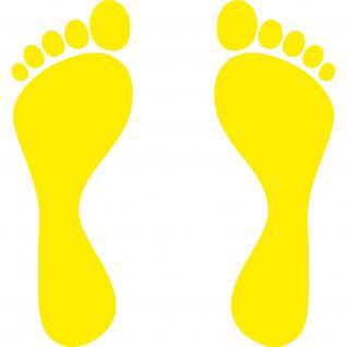 2 Paar 4 Füße 25cm gelb Fuß Abdruck Aufkleber Auto die cut Tattoo Deko Folie