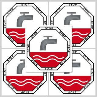 Aufkleber 5cm Sticker Stop Taste WC Bad 00 Toilette Wasser Spülung Spülkasten - Vorschau 2