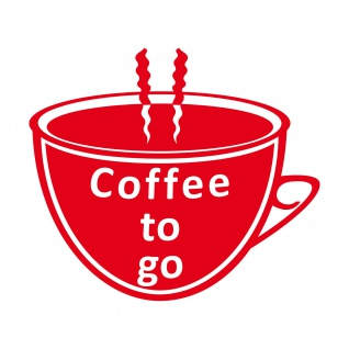 Coffee to go Kaffee Tasse 25cm rot Aufkleber Tattoo Deko Folie Fenster Glas Tür